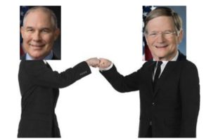 Scott Pruitt and Lamar Smith fist-bumping (fake)